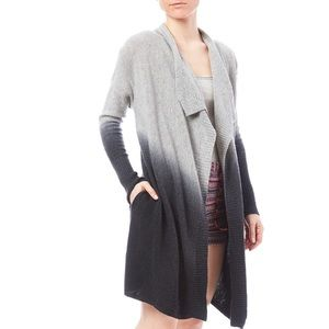 Ombré long wool cardigan